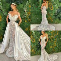 Robes de mariée de sirène de luxe avec jupe amovible dentelle 3D Floral Country Country Robe de mariée Satin Custom Custom Cust Vestidos de Novia