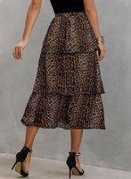 Großhandel Sexy Leopard Frauen Kleidung Rock Mode Kaffee Weiß Frühling Sommer Streetwear Lässig Leopard Lange Frauen Rock Y1214