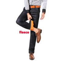 Winter Herren Jeans Business Casual Velvet Fleece starke schwarze Jeans lose feste Warm Gerade Stretch-Denim-Hosen Homme