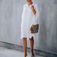 100% algodón sólido whitetunic casual damas talla grande streetwear o-cuello manga batwing floja tops largos y blusa camisas A452 F0122