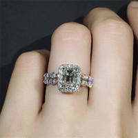 2019 New Square Zircon Princesa Anéis Forma Geométrica Inlay Anéis De Casamento De Zircão Para Mulheres Banquete Partido Jóias Bagueiro Femme 306 J2