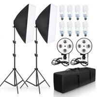 Softbox Фотография Освещение комплект Профессиональные Студия Оборудование с E27 5500K Лампочки Стенд для портретной продукции Fashion1