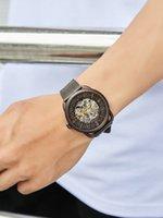 Caluola автоматические механические часы полый кофе большой циферблат мужские часы натуральный кожаный ремень водонепроницаемый мужской часовой мода