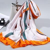 أزياء السيدات مطبوعة الحرير وشاح الاستخدام المزدوج الزخرفية والأوشحة الحريرية الربيع والخريف حرف نمط شال طويل