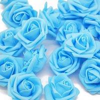 Dekoratif Çiçekler Çelenkler 4 CM Renkli PE Köpük Gül Kafa Düğün Araba Evlilik Odası Dekorasyon DIY Yapay Çiçek Garland Craft1