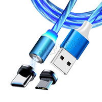 الجملة الصمام كابل المغناطيسي مضيئة 2.4a pvc شحن سريع الكابلات أندرويد نوع c مايكرو USB كابل لسامسونج S20 Huawei مصنع