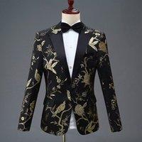Pyjtrl Yeni Tasarım Erkek Şık Nakış Kraliyet Mavi Yeşil Kırmızı Çiçek Desen Suits Sahne Şarkıcı Düğün Damat Smokin Kostüm 201124