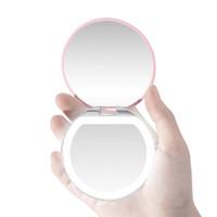 LED Light Mini зеркала для макияжа Компактного карманного Face Lip косметического зеркала путешествие портативного освещение зеркало 3X Увеличительной Складная EEC2781