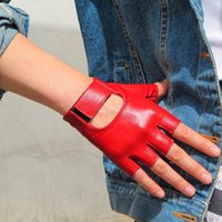Women' s Half Finger Real Leather Gloves Pure Sheepskin ...