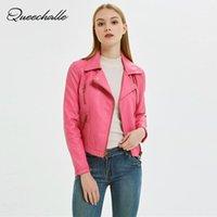 QueeeeeeChlele Осенние Базовый Пальто Женский Повседневная ПУ Кожаная Куртка Женщины Классические Шипы Короткие Мотоциклетные Куртки Черный Персик Pink1
