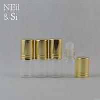 3ml transparent en verre cosmétique Bouteille Roller Femmes Parfum Container Huile essentielle d'emballage Rouleau sur le capuchon Argent Or