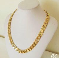 Collier 18k Hommes Free Classic Gold 10mm Real 23.6inch chaîne solide jaune expédition lourd! jllzx carshop2006