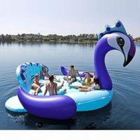 Encaixa sete pessoas 530cm gigante pavão flamingo unicórnio flamingable pool flutuador flutuador colchão de ar anel de natação brinquedos boia boia