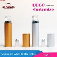 Sedorate 30 pcs / lote mini rolo de frasco de vidro no rolo de aço de garrafa contêineres de óleo essencial 8ml tampa de alumínio Rygr09High quantidade