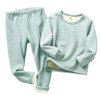Зимние детские пижамы наборы теплые пижамы для осенних малышей мальчики утолщенные девушки спящая одежда фланель детское термическое белье костюмы 201225