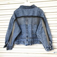 Women bat sleeve tassel short loose burr denim jacket Female...