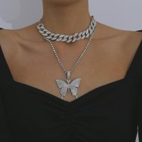 Di alta qualità Luxury Shiny Chunky Rhinestone Choker Hip Hop Bling Crystal Butterfly Pendant Collana Nightclub Party Jewelry