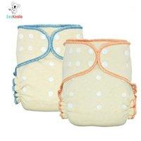 Pannolini di stoffa EEZKOALA 2PCS OS Eco-friendly OS montato Pannolini, AIO ciascun pannolino con un inserto a scatto, alta assorbenza, adatta per bambini 5-15 kgs1