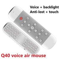 Teclado Q40 aire del vuelo mini ratón inalámbrico de TV set-top box de infrarrojos de aprendizaje de doble cara somatosensoriales de luz de fondo del mando a distancia