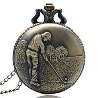 Bronze Antique Tema De Golfe Relógios De Bolso Com Moda Casual Colar Pingente Cadeia Melhor Presente Para Golfers Homens Assista Portable
