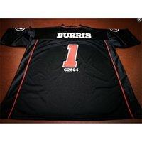 Billig 2604 Ottawa Redblacks # 1 Henry Burris Black College Jersey oder benutzerdefinierte Namensname oder Nummer Jersey