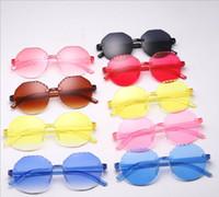 Novos Crianças Transparentes Candy Color Rodada Quadro Sol Óculos De Sol Moldura Frameless Moda Bonito Óculos Meninos Meninas Sun Eyeglasses C6695