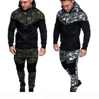 Automne Hommes Camouflage Patchwork Sweats à capuche Homme Zipper Fly capuche Neck Cardigan Vestes Homme FASHION High Street