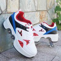 Chaussures chaudes Sneakers Casual Steaskers Walk Skates Déformez les patins à roue pour hommes Femmes Chaussures Unisexes Skates à fuite enfants adultes à quatre roues