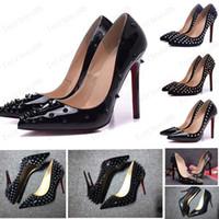 2020 Schuhe Rote Sloe Frauen Pumps High Heel Schuhe Niet Spitz Zehe Fine Ferse Dame Hochzeit Schuhe Boden Für die rote 8 cm 10 cm 12 cm 35-44