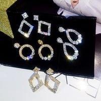النساء S925 الفضة إبرة أقراط مجوهرات سيدة هندسة شكل البطانة كريستال الأزياء eardrop الأذن ترصيع 2 7SFB J2