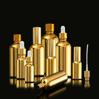 Großhandel Goldfarbe Glas Leer Parfümflaschen Ätherisches Öl-Tropfen-Schlauch-Flaschen Gesichtscreme Gläser Reise kosmetische Flüssigkeit Flaschen
