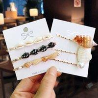 3 adet / takım Moda Conch Shell Saç Pins Inci Barrette Saç Klipler Kadınlar Kızlar için Deniz Kabuğu Saç Aksesuarları Düğün için