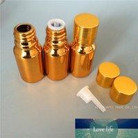 DHL Ücretsiz 120 adet / grup 10 ml Altın Kaplama UV Mini Cam Şişe Örnek Şişeler Küçük Esansiyel Yağ Şişesi ile Altın Vida Kapağı