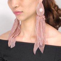 매달아 샹들리에 패션 개성 슈퍼 페어리 보헤미아 모조 진주 대형 귀걸이 여성을위한 웨딩 우아한 긴 레이스 쥬얼리 1