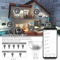 1 2 3 4 5 10PCS WiFi Smart Lamp GU10 Bulb Brightness RGBW 5W Dimmable Light Control By Smart Life APP Work with Alexa Google