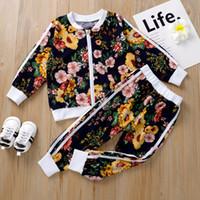 2020 Children Terno Terno Primavera Boy Girl Autumn Flower jacket + Calças 2 Pcs Conjuntos de roupa dos miúdos Casual menina Baby Boy Set Costume