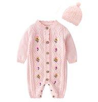 niños bebé niño niños que hacen punto el suéter mameluco del invierno del otoño florales bordados tejer mono de manga larga sombreros niña A4531 mameluco