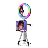 RGB Ring Light per Trucco Photography Lampada con Treppiede Supporto per telefono Supporto per telefono Controllo vocale Musica Sincronizzatore di sincronizzazione Colore Cambiamento Selfie Light
