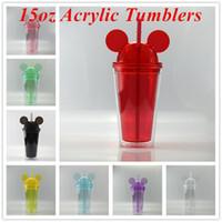 15 oz tumblers acryliques souris tasse de voyage acrylique avec des pailles jus de vin verre enfants bébé dessin animé mignon gobelet en plastique mignon