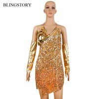 Blingstory Due pezzi Set Sexy Spaghetti Strap con scollo a V nappa costume da competizione con guanti Paillettes Abiti da ballo latino Donne Donne