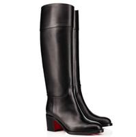 Inferiori rosse tacco Karitube Chunky modo delle donne di inverno Stivali uxury Designer Red Party Sole Booty sopra il ginocchio boot con sicurezza, EU35-43