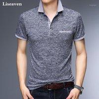 Polos Men's Liseaven Homens S Negócios Camisa de Escritório Mens Camisas Camisas Roupas Sólida Casual Algodão Respirável Camiseta1
