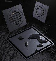 Antykwarska czarna mosiężna podłoga Drains prysznic podłogowy odpływ łazienki dezodorant kwadratowy odpływ odpływu osłony ruszt 10 cm * 10 cm