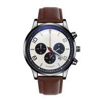 2019New Lüks Adam Saatler Gerçek Deri Kayış Otomatik Tarih Moda Spor Erkekler İzle Kuvars Montre De Luxe Erkek Tasarım Saatı