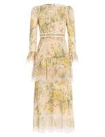 الرجعية محطة الأوروبية الأزهار جوفاء التدريجي فسيفساء لوتس كم فستان السيدات ضغط أنيقة مطوي فستان العيد