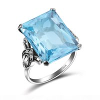 100% Authentic 925 Sterling Silver Dazzling Aquamarine Finge...