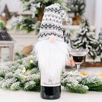 Yeni Noel Süslemeleri Şarap Kapak Şarap Şişesi Dekorasyon Örme Şapka Orman Yaşlı Adam Şarap Seti Yüzsüz Bebek
