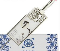 Bookmark de porcelana azul y blanca, Metal de viento chino, marcador creativo clásico, profesor de regalo, compañero de clase GI BBYOUP BDESPORTS