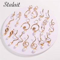 Люстра свисания 19 пары мода нерегулярная металлическая линия свежие жемчужные серьги для женщин золотые искаженные аксессуары ювелирные изделия