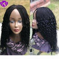 손으로 만든 전체 레이스 프론트 꼰된 가발 곱슬 끝 깔끔하게 만든 상자 머리 띠 머리 띠 아프리카 여성 블랙 브라운 금발 ombre 색상